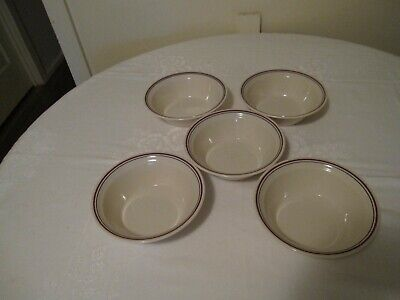 Five Correlle Abundance/ Country Morning Cereal Bowls Blue/Maroon Stripe