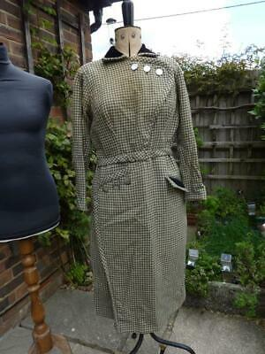 1940's / 1950's Style Vintage Dress, Grey Dog Tooth.