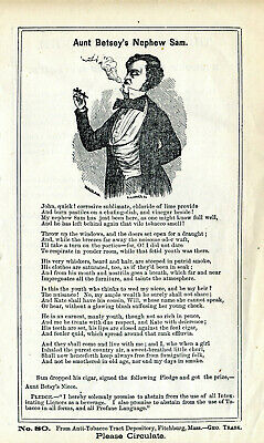 Trask Infallible Tobacco Cure Anti Tobacco Tract Broadside Quack Medicine 1850
