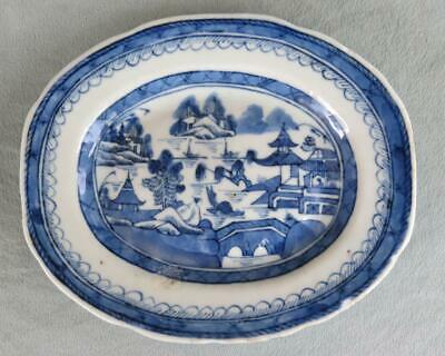 "Chinese Export Canton Blue & White Small 7"" Platter"