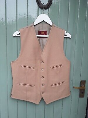 """Vintage Dunn & Co Wool Camel  Waistcoat Chest Size 38"""" 40"""""""