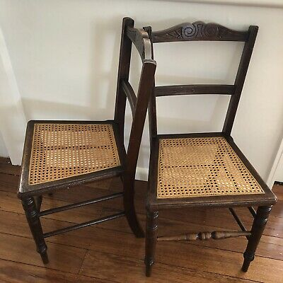 Pair Of Antique Rattan Seat Hall Chairs.Pick Up Only From Vic 3041