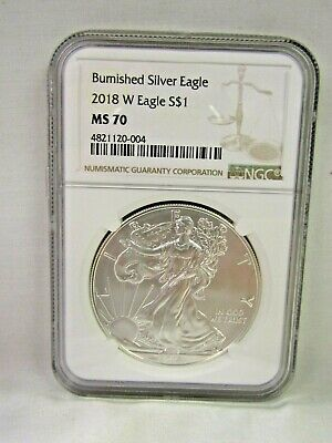 2018-W BURNISHED UNCIRCULATED $1 SILVER AMERICAN EAGLE NGC MS70 gdc #20