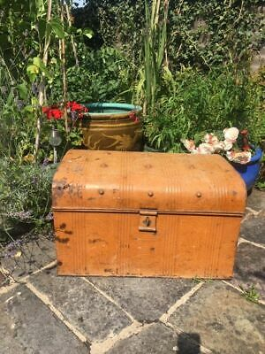 Antique Victorian metal steamer trunk hinged top brown interior