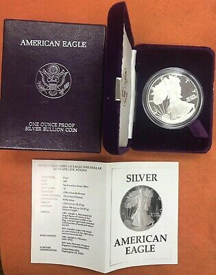 1987 S American Eagle Silver Proof Dollar with Box & COA