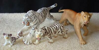 "Lot 4 Tigers & Lion Safari 12"" Siberian Tiger & Lion and 2 Toymajor Tigers toys"