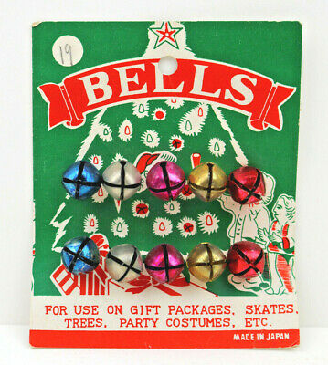 "Vintage Christmas Jingle Bells on Original Packaging Japan  4.25"" x 3.5"" 50s-6os"