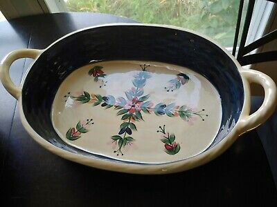 Gorgeous Large P SILKOTCH DOUBLE HANDLED SERVING PASTA DISH hand painted ceramic