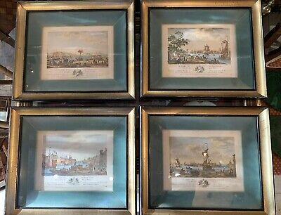 SET 4 Framed Antique FRENCH Hand Colored AQUATINT ETCHINGS France Ports SEAPORTS