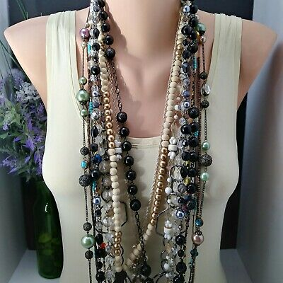 Mamas Estate Vintage To Modern Long Fashion Costume Necklace Lot Assorted Fn1-34