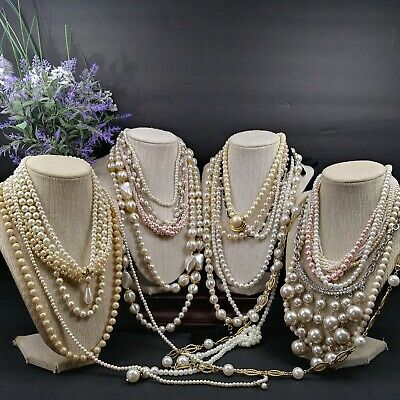 Mamas Estate Vintage-Now Faux Pearl Fashion Costume Necklace Lot Assorted Abc-1