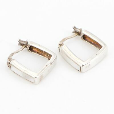 VTG Sterling Silver - Mother of Pearl Inlay Square Hoop Earrings - 3.5g