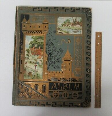 Antique 1800's Scrapbook Album w/(75+) Advertising Trade Cards Ephemera hj6004