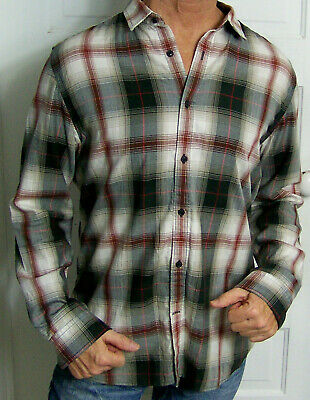 mens - BANANA REPUBLIC shirt - L - TAILORED SLIM FIT - PLAID - Cotton / Spandex