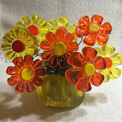 Vintage 1960s Acrylic Lucite Yellow And Orange Daisy Flowers With vase