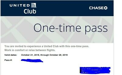UNITED AIRLINES CLUB PASS Expired on 10/28/2019-E Delivery