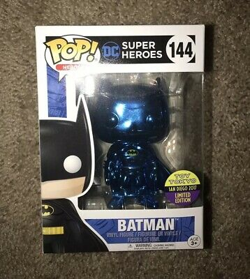 Funko Pop 2017 SDCC Blue Chrome Batman Toy Tokyo Exclusive with Stack NO RESERVE