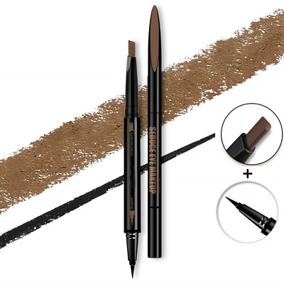 Pinkiou 2 In 1 Eyebrow Eyeliner Pen Rotatable Brow Color Shaping Pen Coffee