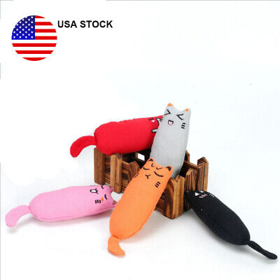 5Colors Pet Catnip Durable Cat Shaped Pillow Kitten Clean Teeth Chew Play Toys