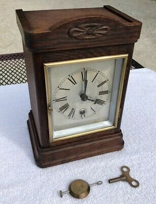 1900's Antique German Hamburg American Bracket Mantel Clock Working Oak TimeOnly