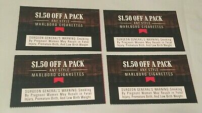 (4) $1.50 off a pack of Any Style Marlboro Cigarettes Coupons exp. 12/31/19