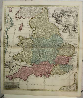 ENGLAND & WALES 1720ca VISSCHER/SCHENK II/OTTENS ANTIQUE COPPER ENGRAVED MAP