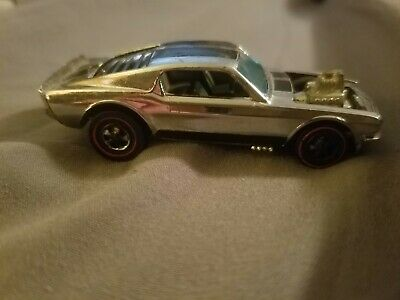 1969 Mattel Hot Wheels Redline Silver Mustang Boss Hoss Car red line Hong Kong