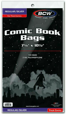 BCW Silver Thick Comic Book Bags (100 CT New Top