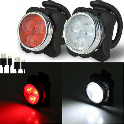 Waterproof Bicycle Bike LED Lights Front Rear Tail Light Lamp USB Rechargeable
