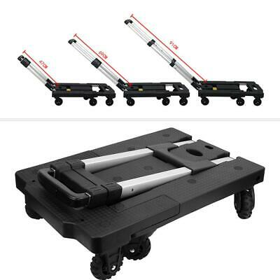 Portable Foldable Silent Hand Truck 7-Wheel Trolley Luggage Cart Adjustable Rod