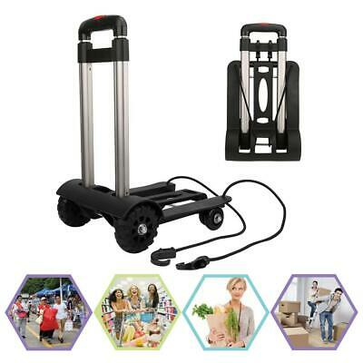Aluminum Alloy Folding Luggage Cart Hand Truck with Wheels Adjustable Fixing Rod
