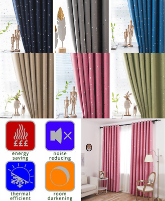 Pari of Star Curtains Thermal Blackout Drop Curtain Blind Boy Girl Child Bedroom
