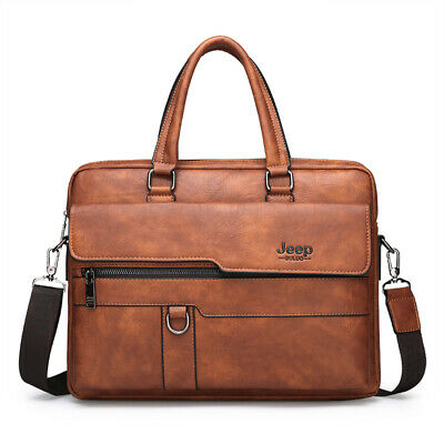 Men's Briefcase Business Handbag Leather Shoulder Bag Messenger Bags Jeep Buluo