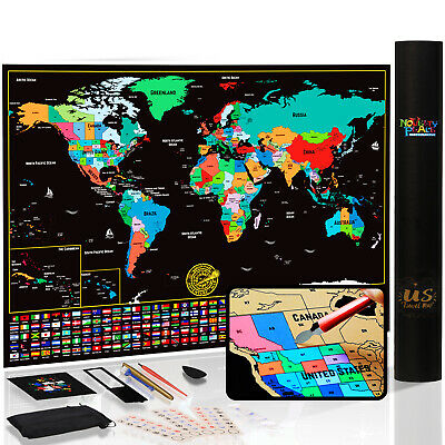 Novelty Place Scratch Off Map of The World Travel Tracker Map Poster Wall Art