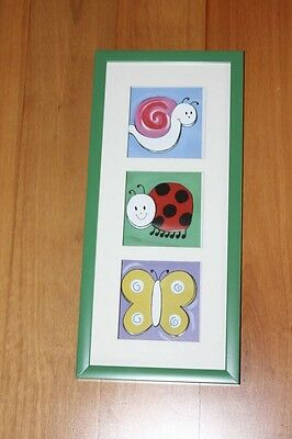 METRO KIDS Girls Boys Baby 3D WALL ART Snail/Ladybug/Butterfly Green Frame BNIB