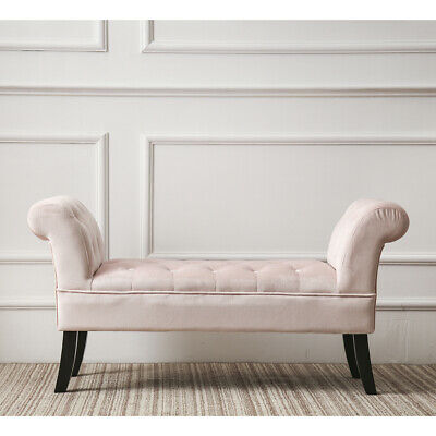 Soft Pink Velvet Oyster Vanity Chair Bench Ottoman Bedroom Furniture Luxurious