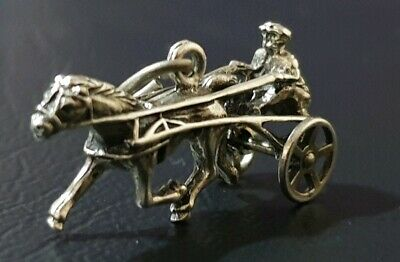 Sterling Silver Trotting Horse and Rider Charm Pendant Vintage Operable Wheels.