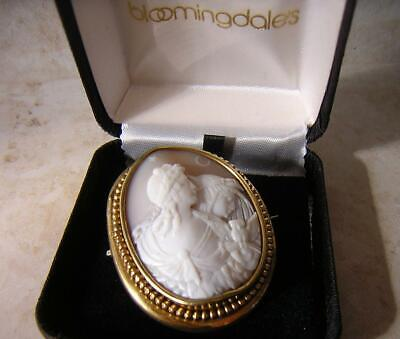 Day & Night Cameo Fine Antique Victorian Shell Cameo Brooch Pin Pinchbeck Mount