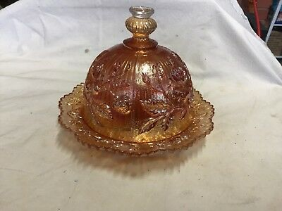 Carnival glass, Rose, Marigold Butter Dish with cover by Imperial