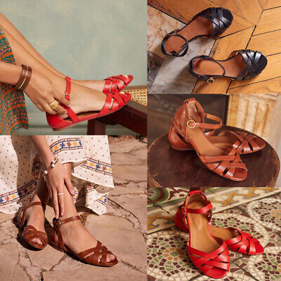 UK Women Vintage Summer Flat Sandals Ladies Strap Ankle Holiday Beach Shoes 4-8