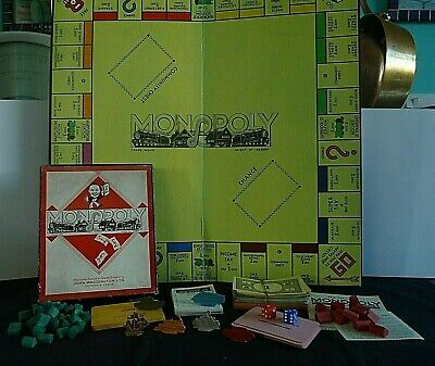 Vintage Monopoly Board Game 1953 - 1955 with Rare Flat Metal Tokens