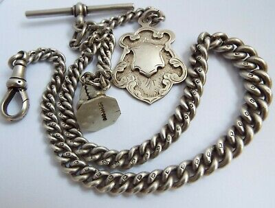 Stunning Clean English Antique 1911 Solid Sterling Silver Albert Chain With Fobs