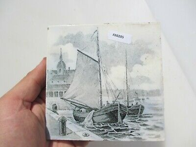 Antique Ceramic Tile Vintage French Village Boats River Cottage Nature Fishing