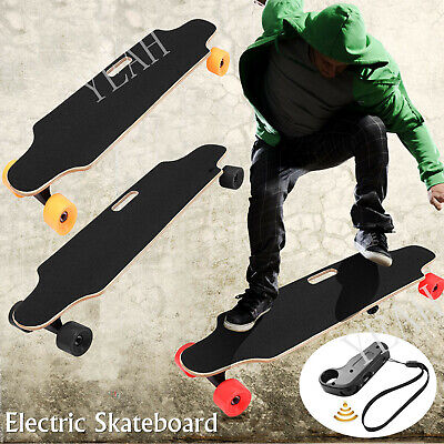 HOT Electric Skateboard Longboard Remote Control & Charger Black Long Board 250W