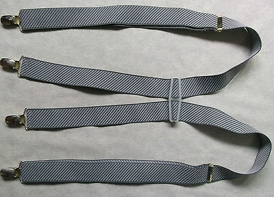 Braces Suspenders Mens Vintage CLIP ON 1970s 1980s GREY STRIPED