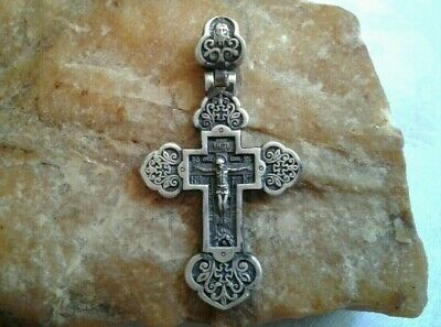 """Vintage Solid Sterling Silver """"925"""" Orthodox Ornate Crucifix """"Guardian Angel"""""""