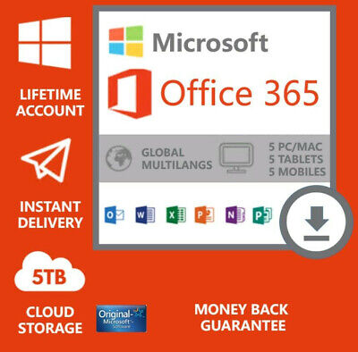New Instant Microsoft Office 365 Lifetime Subscription 5 Devices 5 TB Pc/Mac