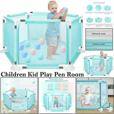 Child Baby Kids Children Playpen With 18 Poles Bars Outdoor Yard Play Pen Fence