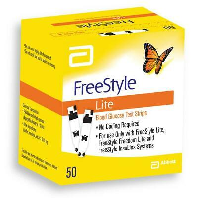 Freestyle Lite Blood Glucose Test Strips New In Box - 50