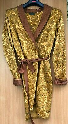 True Vintage Brown and Gold Paisley Pattern Satin Smoking Jacket S/M?